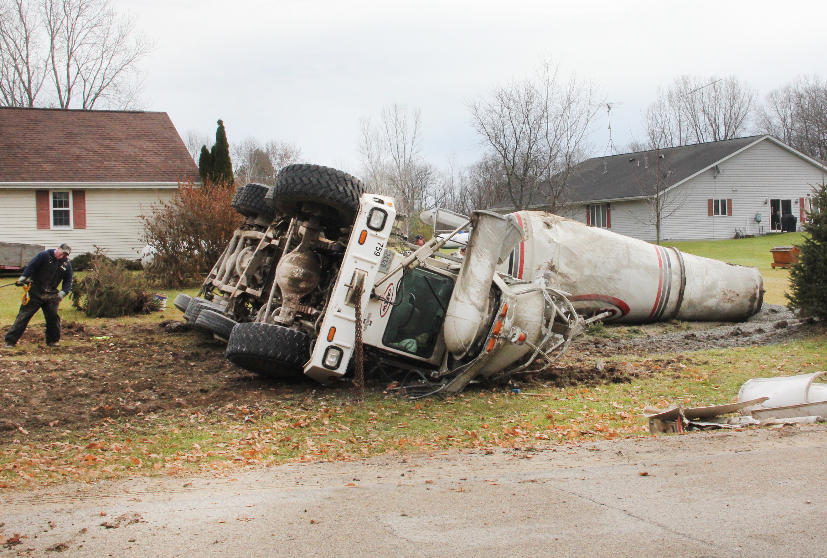 Cement Truck Overturns On Lake Drive